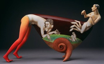 """Sergei Isupov, """"To Live in the Clouds"""" 2000, ceramic, 10 x 17 x 5.5""""."""