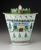 """Mara Superior, """"A Dream House Dreaming"""", 1984, high-fired porcelain, ceramic oxides, underglaze, glaze, 15.25 x 13.25 x 5"""""""