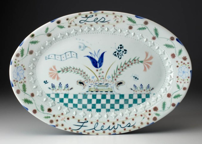 """Mara Superior, 'Les Fleurs' 2013, high-fired porcelain, ceramic oxides, underglaze, glaze, 13 x 18.5 x 1.75""""."""