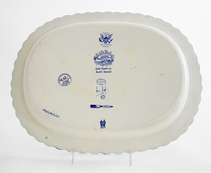 "Scott's Cumbrian Blue(s), New American Scenery, Across theBorderline (Trumpian Campaigne) No:1, in-glaze decal, shell-edge, pearlware platter c.1855, 12.75 x 10.5 x 1.5""."