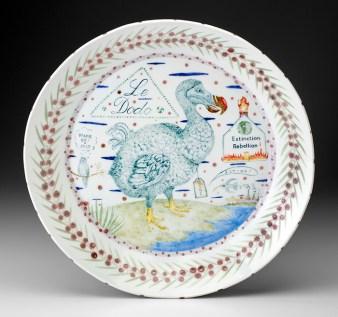 """Mara Superios, 'LeDoDo' 2010, high-fired porcelain, ceramic oxides, underglaze, glaze, 16 x 16 x 2""""."""