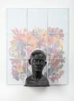 "Cristina Córdova, ""Cabeza V"" 2018, ceramic, framed photography, 24.5 x 30.5 x 8""."