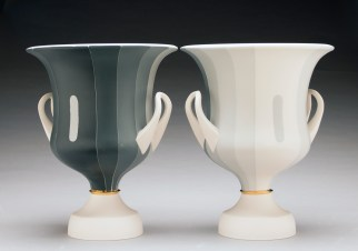 """Peter Pincus, Pair of Calyx Krater inspired Vases, from the series One Shows Two, Two Influence Twenty, 2018, colored porcelain, 13 x 10.5 x 10.5""""."""