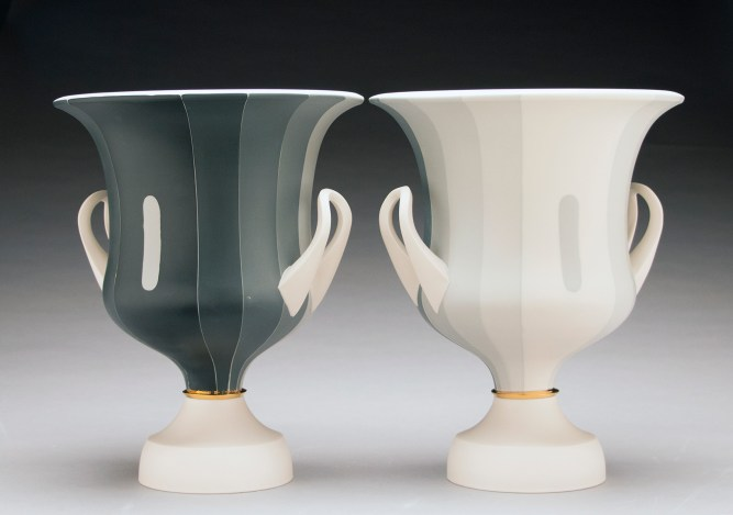 "Peter Pincus, Pair of Calyx Krater inspired Vases, from the series One Shows Two, Two Influence Twenty, 2018, colored porcelain, 13 x 10.5 x 10.5""."