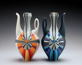 "Peter Pincus, 'Ewers' 2018, colored porcelain, 10.5 x 6 x 6""."