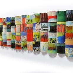 "Lauren Mabry, ""Untitled (Benson)"", 2018, red earthenware, slips, glaze (also, epoxy and wood), 22 x 65 x 2.5""."
