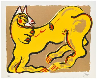 "Akio Takamori, ""Potters and Prints Portfolio (yellow print)"", 1984, silkscreen print, 37/50, 22 x 27""."
