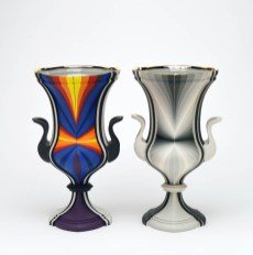 """Peter Pincus, """"Pair of Kraters"""" 2019, colored porcelain and gold luster, 12 x 6.5 x 5""""."""