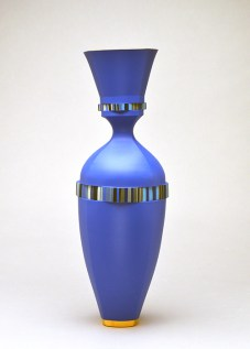 "Peter Pincus, ""Delphinium"" 2019, colored porcelain and gold luster, 17 x 6 x 6""."