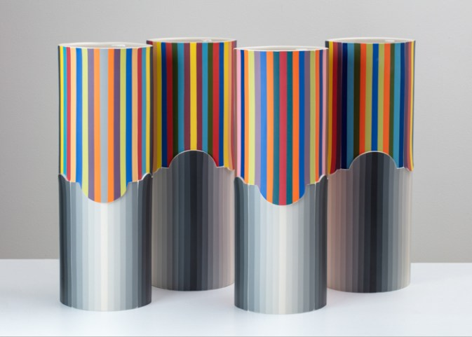 "Peter Pincus, 'Losing #422 (Front of 4 of 15 Vessels), 2020, colored porcelain, 18 x 7 x 5"" (each)."