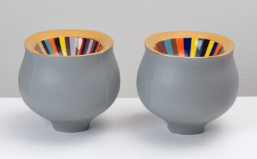 """Peter Pincus, 'Pair of Grey Bowls', 2020, colored porcelain, gold luster, 6.5 x 7 x 7"""" (each)."""