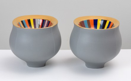 "Peter Pincus, 'Pair of Grey Bowls', 2020, colored porcelain, gold luster, 6.5 x 7 x 7"" (each)."