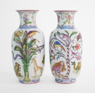 "Robin Best, ""The Aldrovandi Vases"" 2017, porcelain, on-glaze Xin Cai, 12.5 x 5"" each."