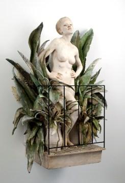 "Cristina Córdova, ""Del balcón"" 2017, ceramic, steel, 28 x 25 x 12""."