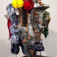 """Raymon Elozua, R&D II, Re-16a-1, 2014, ceramic, glaze, steel, glass, 33 x 29 x 46""""."""