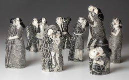 """Sergei Isupov, """"Sailor and Beauty,"""" """"Partners,"""" """"Old Story,"""" """"Do Not Press,"""" """"Swiftness,"""" """"Aperitif,"""" """"Take Breath,"""" and """"Who Will Win"""" 2018, porcelain, slip, varied sizes ≈ 8 x 3.5 x 2""""."""