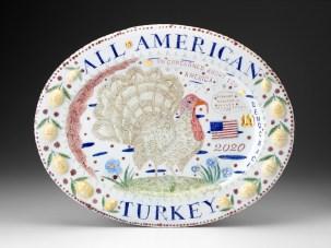 "Mara Superior, ""I'm Concerned About You America - All American Turkey"", 2020, porcelain, ceramic oxides, glaze, gold luster, 16.5 x 21 x 1.5""."