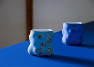 "Kadri Pärnamets, Cups, 2020, porcelain, slip, glaze, 4 x 4 x 4"" (each)."