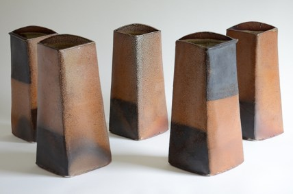 "Mark Pharis, ""Five Vases"" 1995, stoneware, 13.5 x 8 x 6"" each, 38"" wide installed."