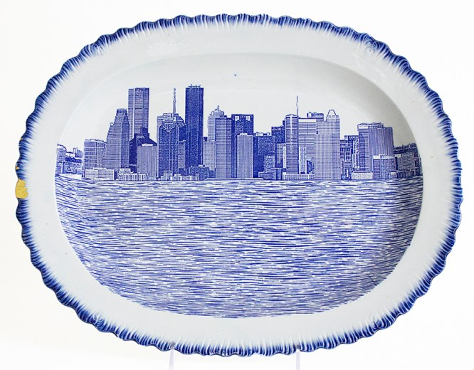 "Paul Scott, ""Scott's Cumbrian Blue(s), New American Scenery, Houston No: 1"" 2017, in-glaze decal collage on shell-edge, pearlware platter c.1850."