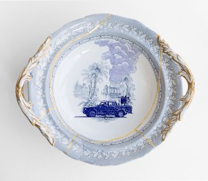 """Paul Scott, """"Scott's Cumbrian Blue(s), The Syria Series No: 10, Palmyra"""" 2017, in-glaze decal collage, gold lustre, partially erased cracked Palmyra bowl by Brownfield, c. 1870."""