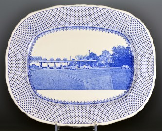 "Paul Scott ""Scott's Cumbrian Blue(s), Turnpike/Toll No:8"" 2017, in-glaze screenprint (decal) on Masons Ironstone, Louise platter, c 1955, 15 x 12.5"", (382 x 315mm)."