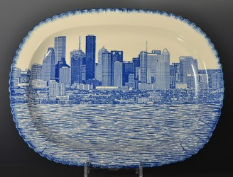 "Paul Scott, ""Scott's Cumbrian Blue(s), Houston No:3"" 2017, in-glaze decal collage on pearlware shell edge platter c 1820. 15.75 x 11.75"" (400mm x 300mm)."