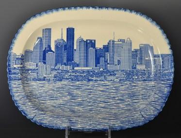 "Paul Scott, ""Scott's Cumbrian Blue(s), Houston No:3"" 2017, in-glaze decal collage on pearlware shell edge platter c 1820. 15.75 x 11.75"" (400mm x 300mm)."
