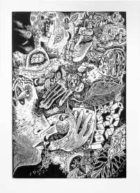 "Kurt Weiser, ""Flight Over Kansas"" (Edition of 10), 2017, linocut print, ink on Somerset paper, print: 36 x 24""; paper: 44 x 30""."