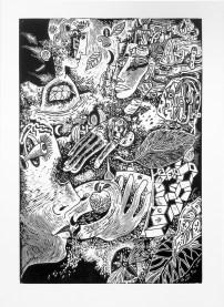 """Kurt Weiser, """"Flight Over Kansas"""" (Edition of 10), 2017, linocut print, ink on Somerset paper, print: 36 x 24""""; paper: 44 x 30""""."""