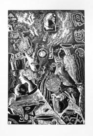 "Kurt Weiser, ""Nightshade""(Edition of 10), 2017, linocut print, ink on Somerset paper, print: 36 x 24""; paper: 44 x 30""."