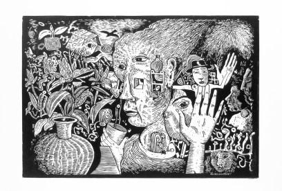 "Kurt Weiser, ""Oleander"" (Edition of 10), 2017, linocut print, ink on Somerset paper, print: 24 x 36""; paper: 30 x 44""."
