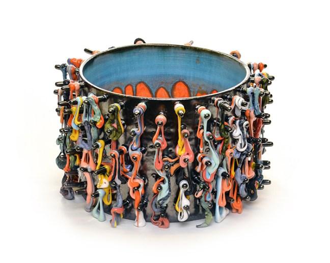 "Mabry, Lauren""Black Cylinder Crispy Loops"" 2018, red earthenware, glaze, 7 x 11 x 11"""