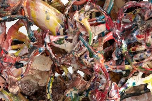 "Linda Sormin 'Reshaping Rage (when revenge makes perfect sense' 2019, glazed ceramic, found shards, epoxy, gold leaf, 25 x 42.5 x 18""."