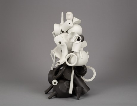 "Edward Eberle, ""A Sculpture Personified"", 2013, porcelain, 21.5 x 14 x 12""."