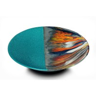 "Bobby Silverman, ""Untitled Bowl (Aqua)"", 2021, glazed porcelain, automotive paint, 14 x 14 x 3.5"""