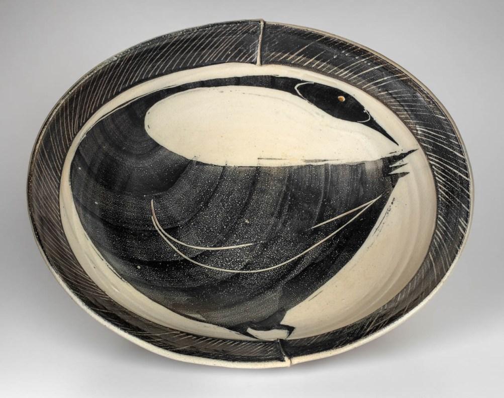 """Michael Simon, """"Oval bowl with added rim"""" 2000, salt glaze, 5.5 x 18 x 14.5""""."""