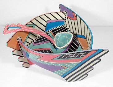"Dorothy Hafner, ""Round About Punch Bowl (with ladle)"" 1988, porcelain, engobe, glaze, 8 x 15.5 x 15.5""."