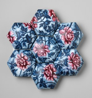 "Giselle Hicks, ""Red and Blue Floral Quilt"" 2008, ceramic, plaster, watercolors, 16 x16 x 2""."