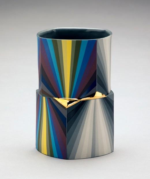 """Peter Pincus, """"Quatrefoil Column"""" 2018, colored porcelain, 6.5 x 4.5""""."""