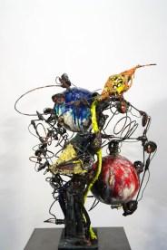 """Raymon Elozua, """"H: IMF-06:"""", 2016, terra cotta, whiteware, glaze, steel rod and plate, 28 x 23 x 22.5"""""""