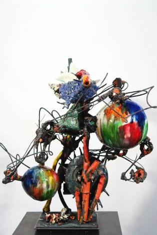 """Raymon Elozua, """"H: IMF-10:"""", 2016, terra cotta, whiteware, glaze, steel rod and plate, 28 x 23 x 23"""""""