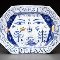 "Mara Superior, Western Lady Dream Platter, 2018, porcelain, ceramic oxides, underglaze, glaze, gold luster, 12.25 x 15.5 x 1"""