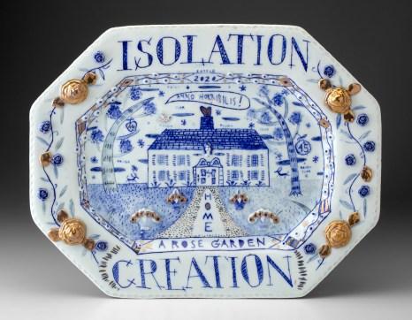 "Mara Superior, ""Isolation Creation"", 2020, English porcelain, cobalt oxide, gold luster, glaze, 12.75 x 16.5 x 1.25"""