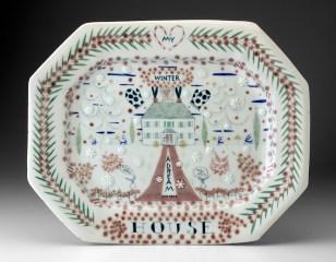 """Mara Superior, """"My Winter House (A Dream House)"""", 2020, English porcelain, cobalt oxide, gold luster, glaze, 14.5 x 18 x 1.5"""""""