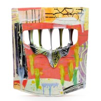 "Lauren Mabry, ""Glazescape (Pink No. 2)"", 2021, red earthenware, slip, glaze, 20.75 x 17.75 x 4.5"""