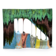 "Lauren Mabry, ""Glazescape (Greenshade No. 2)"", 2021, earthenware, slip, glaze, 18.5 x 23 x 7.5"""