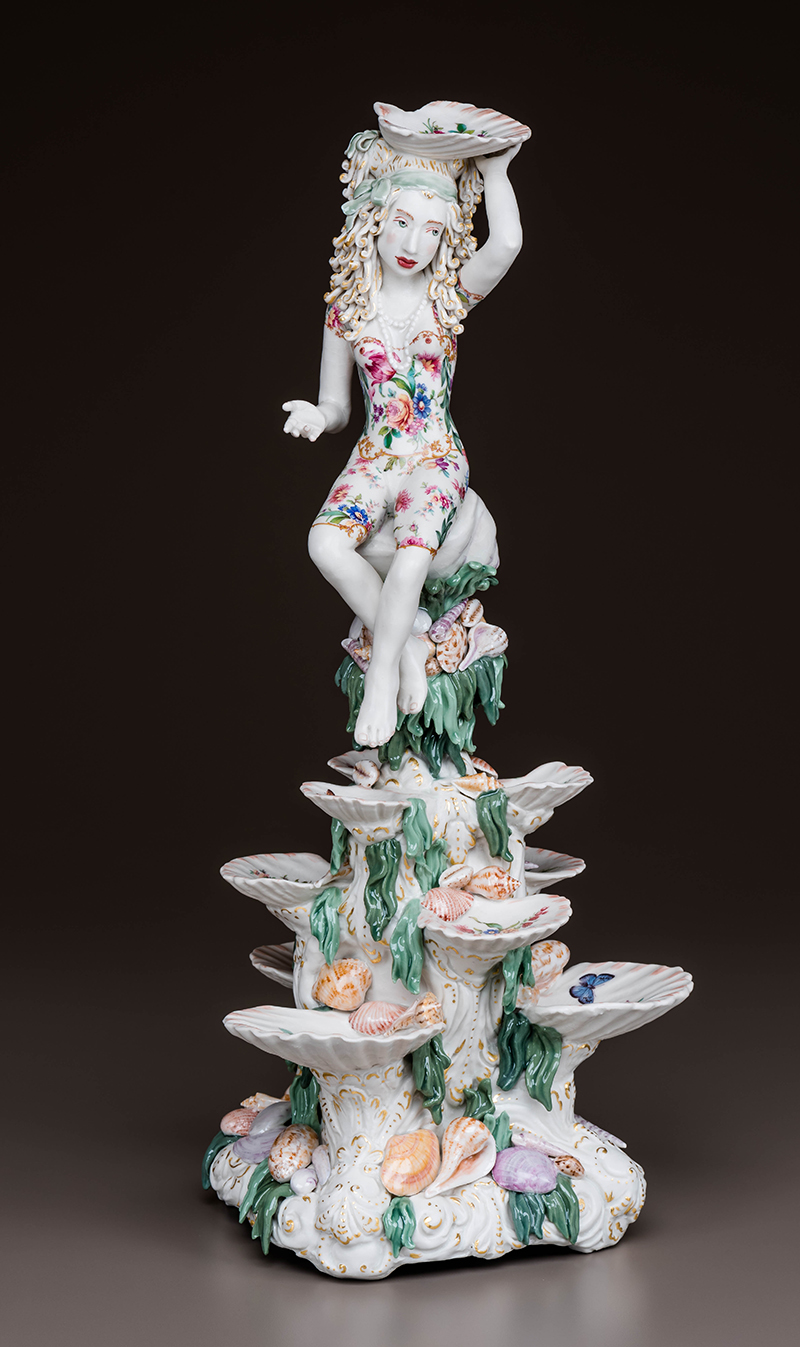 """Chris Antemann, """"Shell Stand"""" 2016, porcelain, china paint, decals, luster, 21"""" x 10"""" x 10""""."""