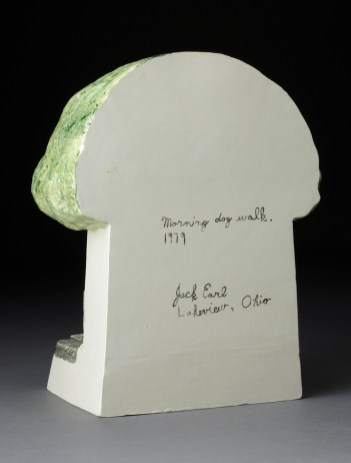 "Jack Earl, ""Morning Dog Walk"" 1979, earthenware, glaze, 11 x 8.5 x 5""."