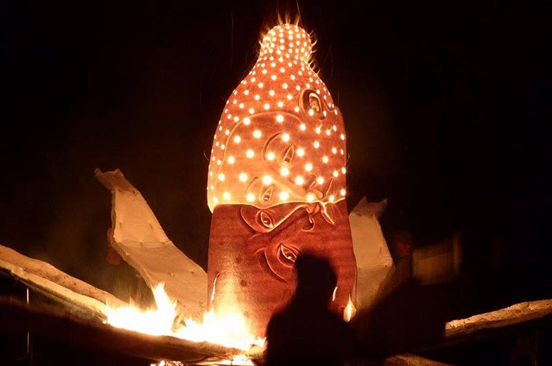 "Sergei Isupov, ""Fire Sculpture"" Guildagergaard, July 2017. photo courtesy of Pricilla Mouritzen"